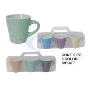 Set 6 Tazzine Colorate Porcellana cl 8 Tazza Caffè