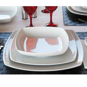 Piatti Tokio Saturnia Quadrato Porcellana Bianca Piatto Piano Fondo Frutta