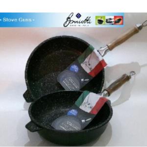 Padella Alta Boniotti Stove Guss Alluminio Pressofuso Pietra 20-24-28 cm Manico Smontabile