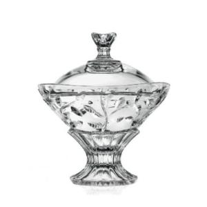 Porta Bon Bon Laurus cm 18 RCR Vetro Cristallino Trasparente Portacaramelle