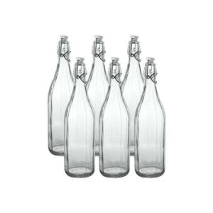 6 Bottiglie Milly Cerve 50 cl Vetro Trasparente Tappo Meccanico Bottiglia Sfaccettata