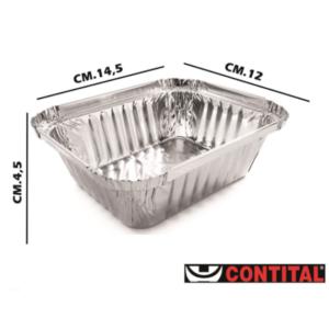 Set 100 Contenitori Alluminio 1 Porzione 14,5x12x4,5 cm Contital Vaschetta Monouso