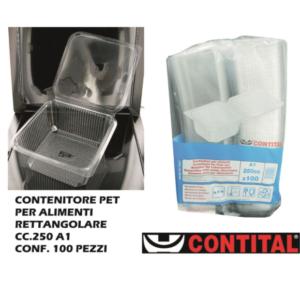 Set 100 Contenitori Rettangolare Plastica con Coperchio 250 cl Contital Vaschetta Monouso