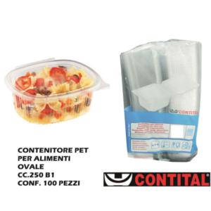 Set 100 Contenitori Ovale Plastica con Coperchio 250 cl Contital Vaschetta Monouso
