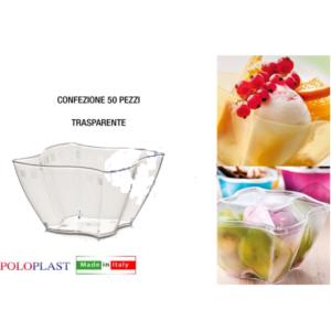 50 Coppetta Elika Poloplast Coppa Plastica Riutilizzabile Trasparente Varie Misure