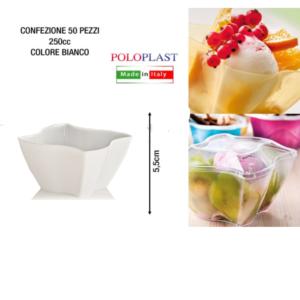 50 Coppetta Elika 250 cl Poloplast Coppa Plastica Riutilizzabile Bianco