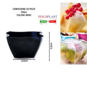 50 Coppetta Elika 250 cl Poloplast Coppa Plastica Riutilizzabile Nero